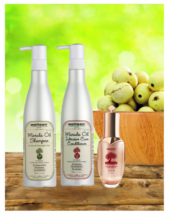 Wellsen Marula Oil Shampoo for Dry & Damaged Hair + Intensive Care Conditioner + Intense Repair Hair Serum(MAC 1+ MAC 1D+ MAC 8)