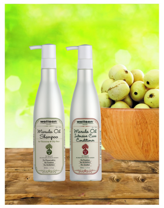 Wellsen Marula Oil Shampoo for Thinning & Oily Hair + Intensive Care Conditioner (MAC 4 + MAC 1D)