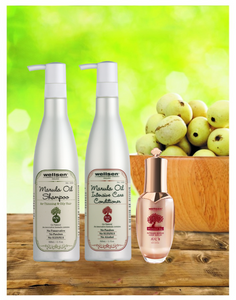 Wellsen Marula Oil Shampoo for Thinning & Oily Hair + Intensive Care Conditioner + Intense Repair Hair Serum (MAC 4 + MAC 1D+ MAC 8)