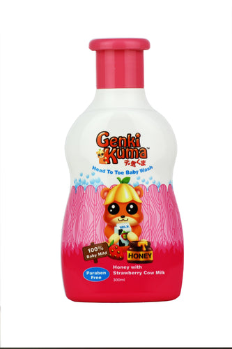 Genkikuma Baby Head to Toe Wash - Honey with Strawberry Cow Milk