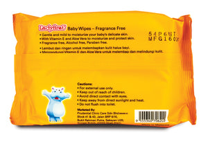 Ladyfirst Hipopo Baby Wipes Fragrance Free (30's Twin Pack)