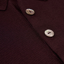 Load image into Gallery viewer, Yuri & Yuri London mens polo knit shirt Bordeaux  mother of pearl buttons