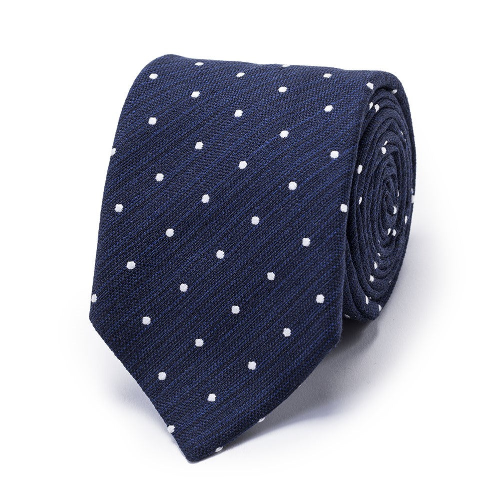 Navy Textured Silk Tie
