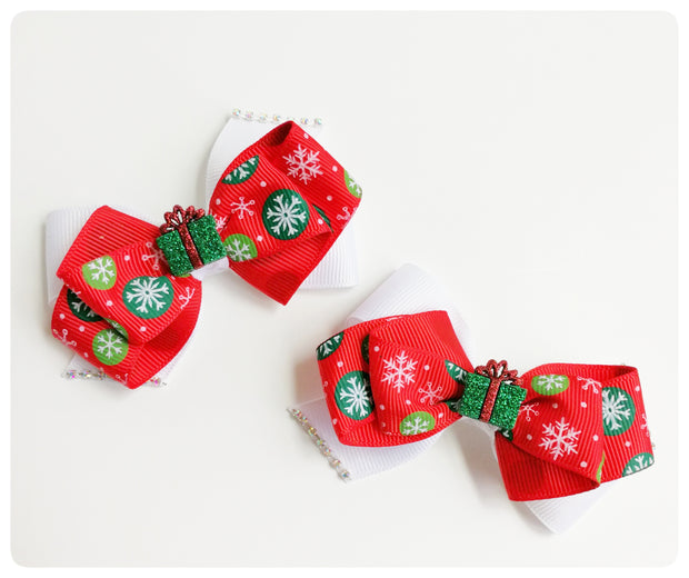 "Christmas theme ""Gift"" bows, set of 2"