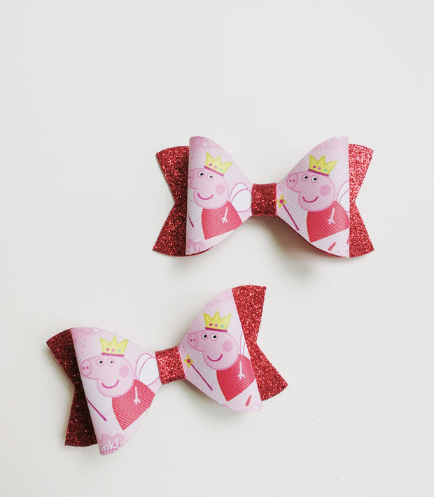 Cute Piggy Red Faux Leather bows, Set of 2