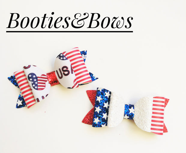 4th of July Faux leather Patriotic bows, set of 2
