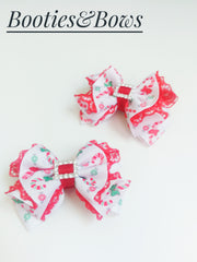 Candy Cane Christmas ribbon bows, set or 2