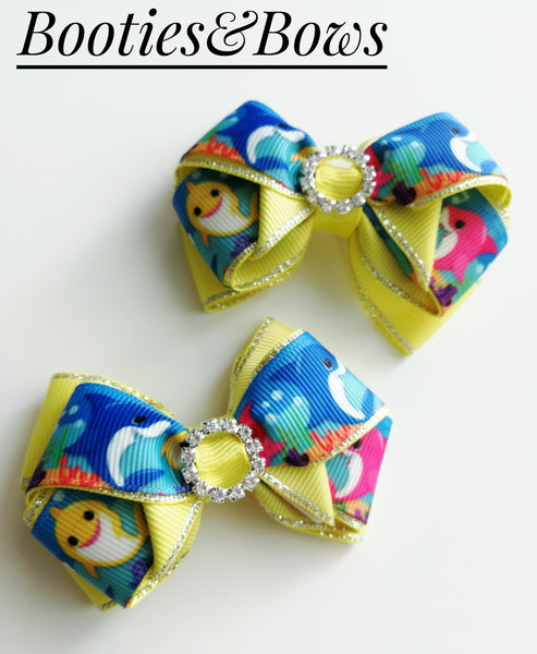 Shark Ribbon Layered bows, set of 2 (RTS)