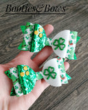 Shamrock faux leather bows, set of 2