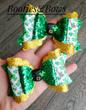 Leprechaun Hat faux leather bows, set of 2
