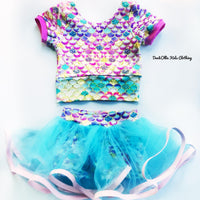 Top and skirted shorts ( tulle) Cinderella blue
