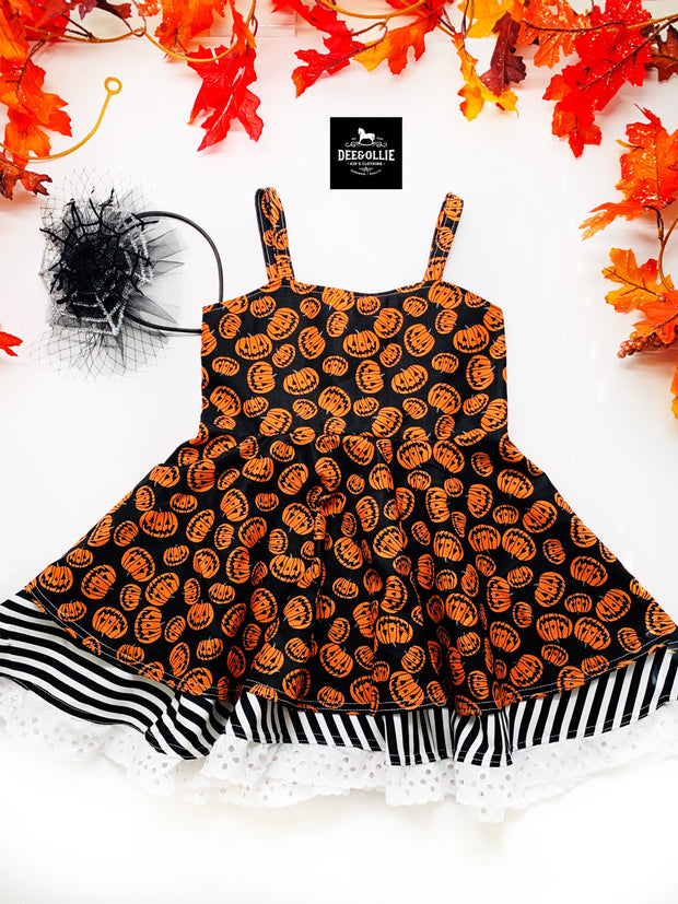 Pumpkin and Fall plaid dresses RTS only listing
