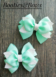 Teal  Ribbon Bows with Faux leather layer.  Set of 2