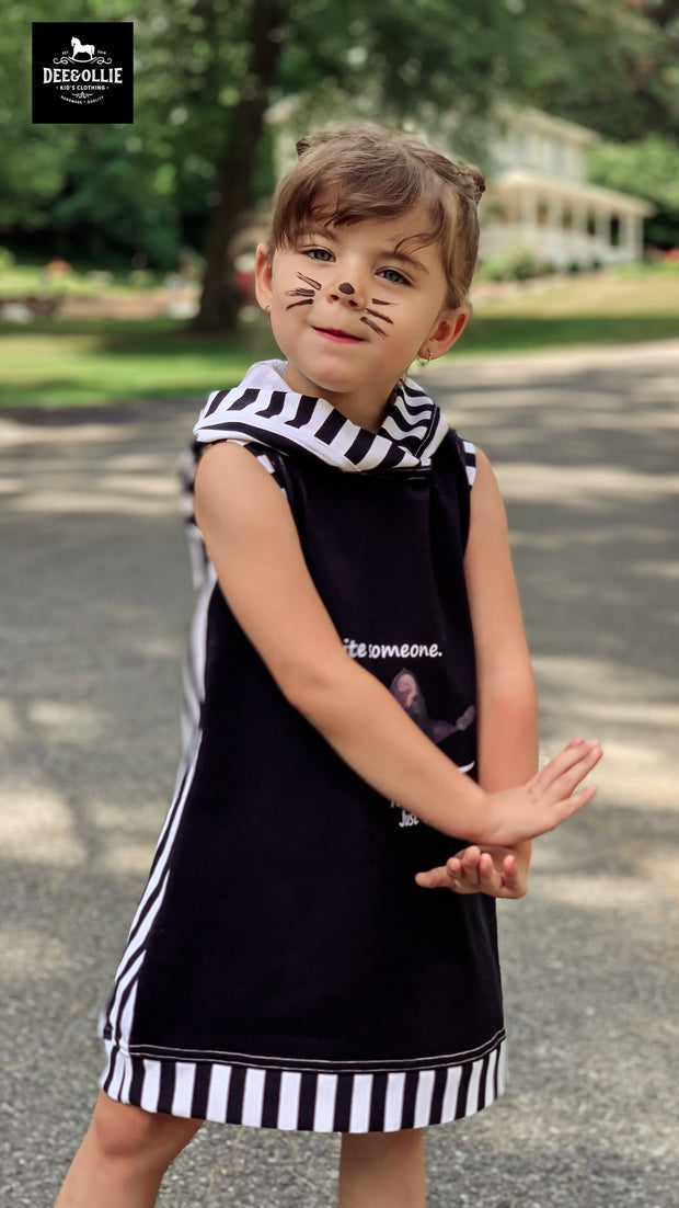 Cat Dress with a hood  on RTS size 4-5t