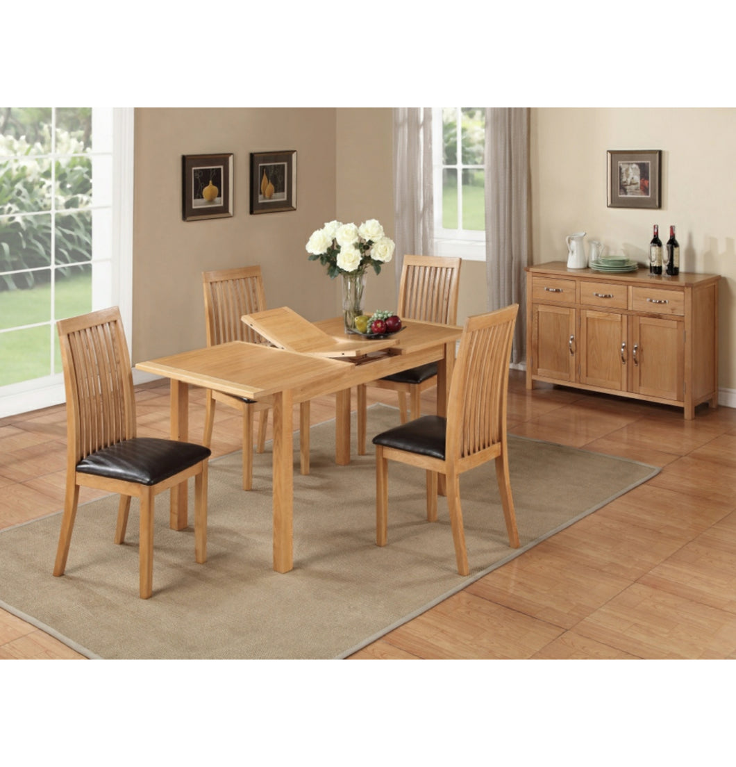 Burwell 4ft Extending Dining Set (Includes 4x Chairs) - City Oak