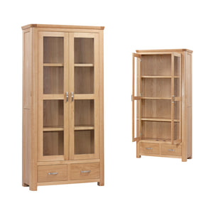 Tealby Glass Display Unit - Oak