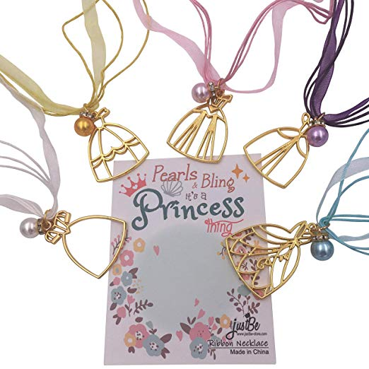 10 Pack Princess Dress Pearl Pendant Necklace for Girls