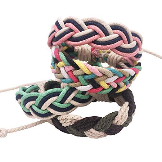 12 Outdoor Rope Shoelace Bracelets for Girls & Boys