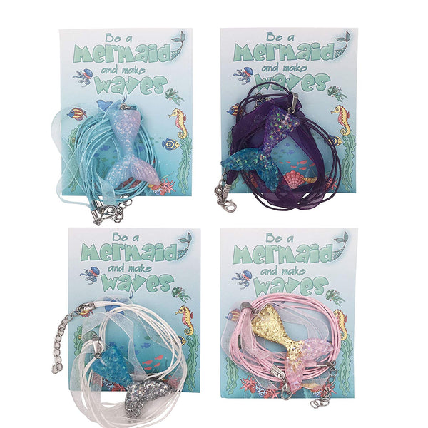 12 Glittery Mermaid Tail Necklaces for Girls