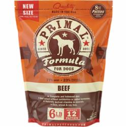 Primal Pet Foods Raw Frozen Patties Canine Beef Formula 6 Pound