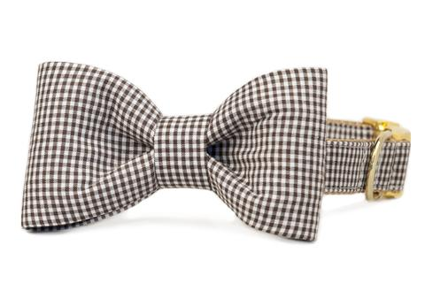 Crew LaLa Brown Gingham Check Bow Tie Dog Collar