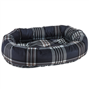 Bowsers Donut Bed Greystone Tartan Microvelvet