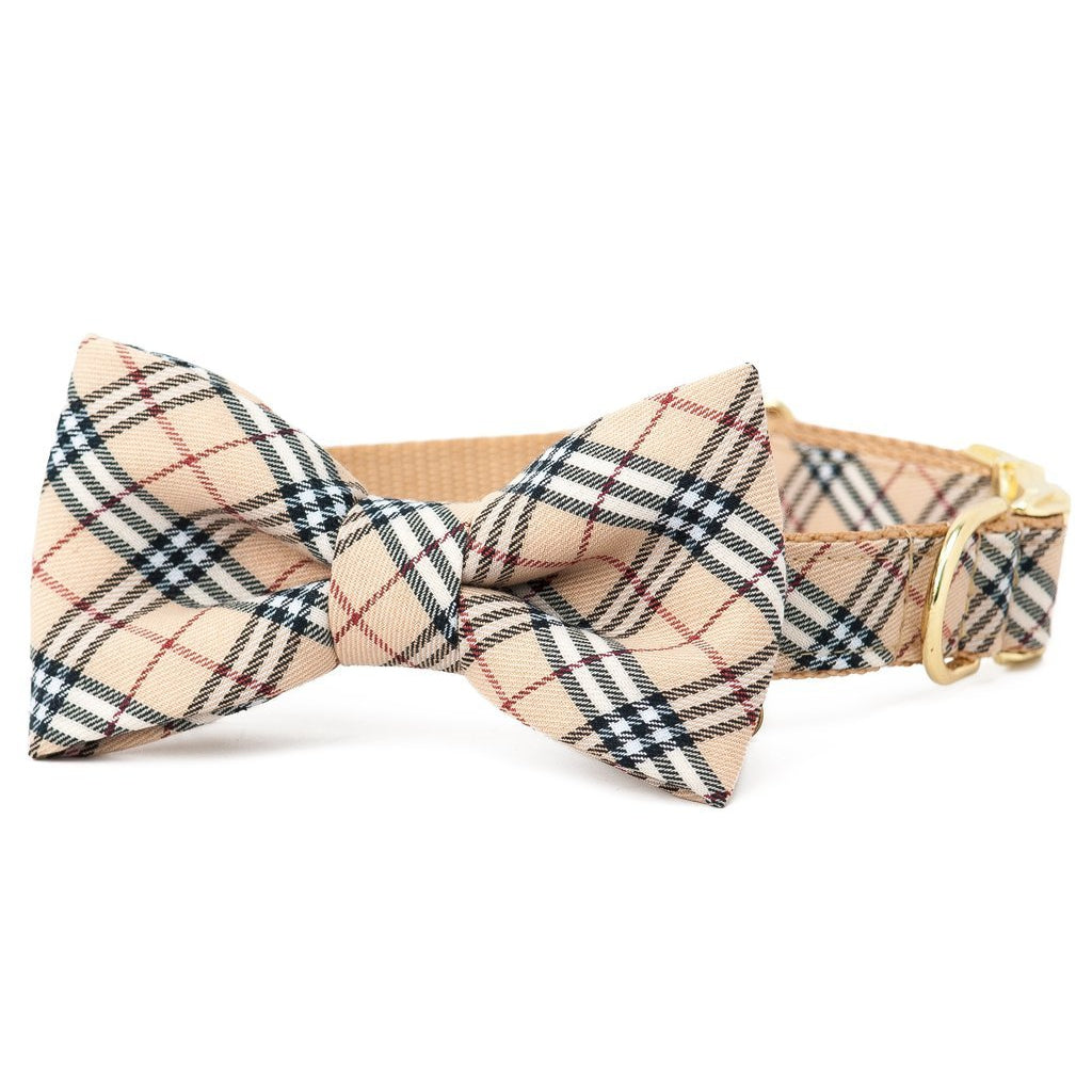 Crew LaLa London Plaid Too Bow Tie Dog Collar