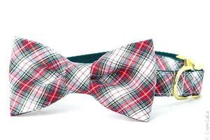 Crew LaLa Mistletoe Plaid Bow Tie Dog Collar