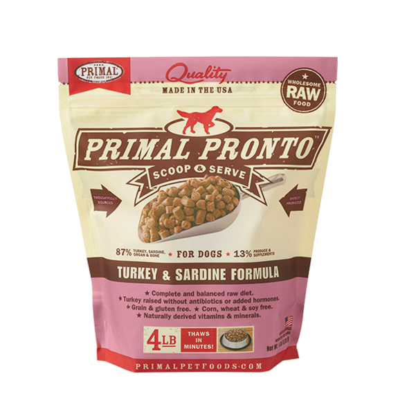 Primal Pet Foods Pronto Raw Frozen Canine Turkey & Sardine Formula