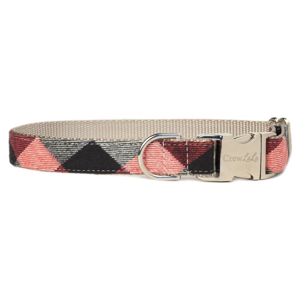 Crew LaLa Red, White & Black Buffalo Flannel Plaid Dog Collar