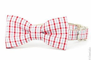 Crew LaLa Red & Silver Gingham Bow Tie Dog Collar
