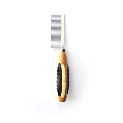 Bass Fine Tooth Metal Pet Comb- Bamboo Wood Handle