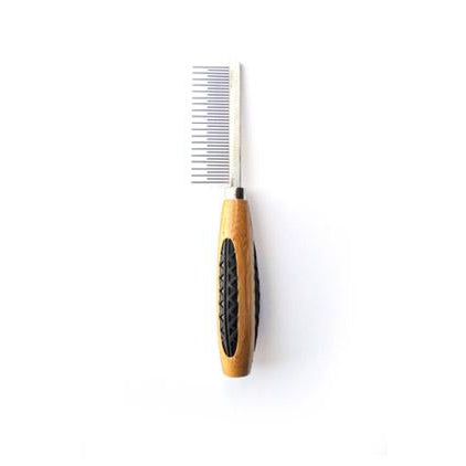 Bass Alternating Short/Long Tooth Metal Pet Comb- Bamboo Wood Handle
