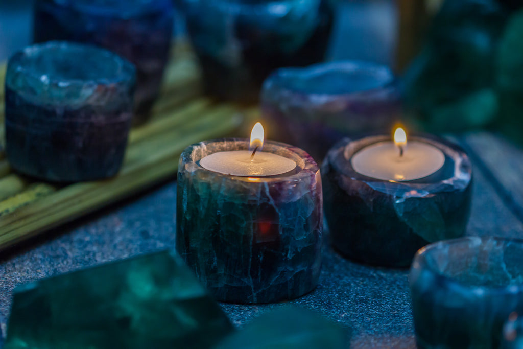 Rainbow Fluorite Candle Cribs