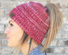 Load image into Gallery viewer, C.C. multi-color messy bun beanies