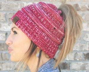 C.C. multi-color messy bun beanies