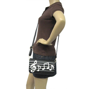 MUSIC NOTES WRISTLET SHOULDER/CROSSBODY  WALLET BAG
