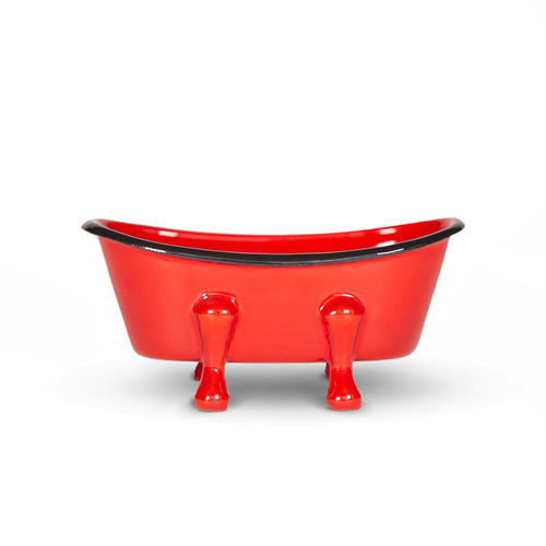 FinchBerry Farmhouse Red Enameled Metal Bathtub Soap Dish