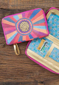 """Good Vibes Only"" Zip Wristlet"