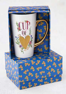 Cup of Heart Gold Handled Mug in gift box