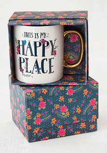 Happy Place Gold Handled Mug in gift box