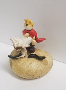 Garden Gnome Reading Book with Owl
