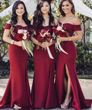 Off Shoulder Fashion Long Bridesmaid Dress,Custom Made Wedding Party Dress TDB1022