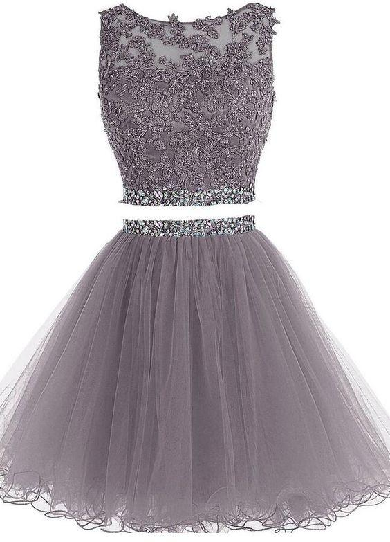 Two Pieces Short Prom Dress, Tulle Homecoming Dress with Appplique and Beading ,Fashion Graduation Party Dress TDH1011