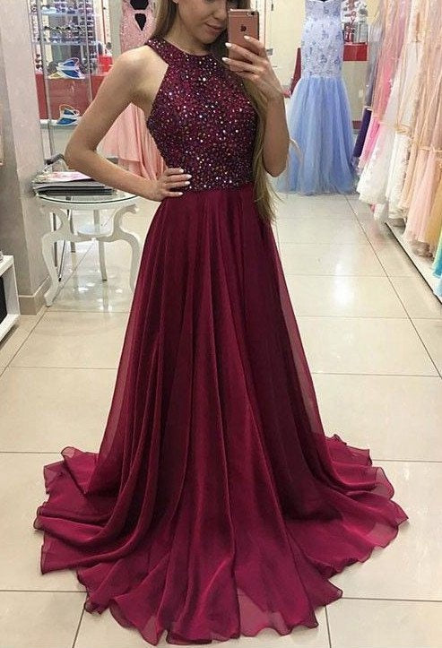 Beaded Prom Dress Halter Neckline, Dresses For Event, Evening Dress ,Formal Gown, Graduation Party Dress TDP1094