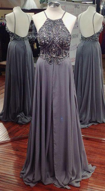Grey Prom Dress, Dresses For Event, Evening Dress ,Formal Gown, Graduation Party Dress TDP1096
