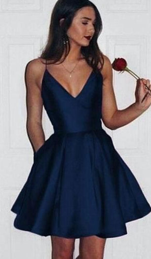 V-neck Short Prom Dress, Simple Homecoming Dress ,Fashion Graduation Party Dress TDH1004