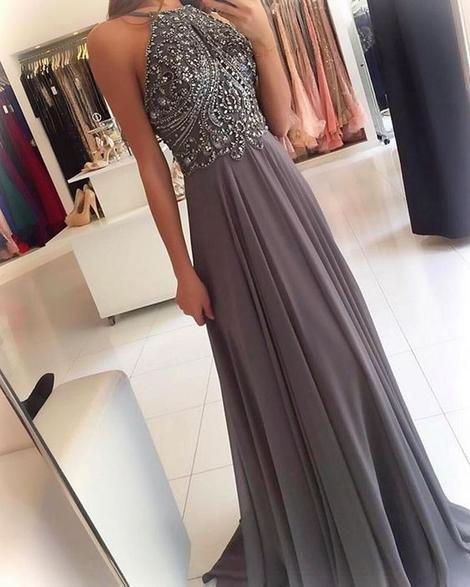 Beaded Grey Prom Dress For Teens Halter Neckline, Dresses For Event, Evening Dress ,Formal Gown, Graduation Party Dress TDP1058