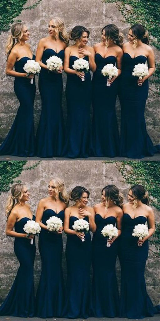 Sweetheart Mermaid Long Bridesmaid Dress With Slit,Custom Made Wedding Party Dress TDB1005