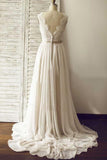 V-neck A-line Beach Wedding Dress ,Long Bridal Dress ,Custom-made Wedding Dress TDW1008